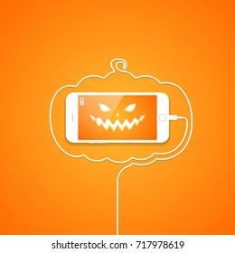 Phone, wire, halloween, pumpkin, evil face.