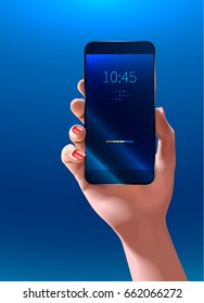Phone in woman hand. Smartphone screen. Realistic vector illustration. mock up