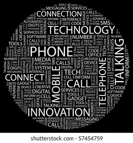 PHONE. Word collage on black background. Illustration with different association terms.