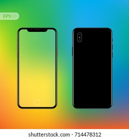 Phone x, smartphone, mobile closeup vector mockup isolated on black background with trend gradient screen. Front view realistic illustration phone with text template.