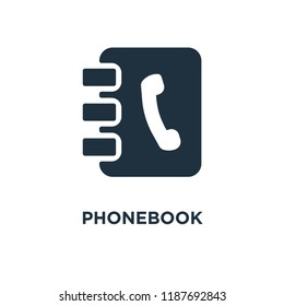 Phonebook icon. Black filled vector illustration. Phonebook symbol on white background. Can be used in web and mobile.
