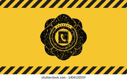 phonebook icon black grunge emblem with yellow background. Vector Illustration. Detailed.