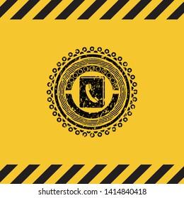 phonebook icon black grunge emblem, yellow warning sign. Vector Illustration. Detailed.