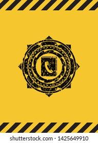 phonebook icon black grunge emblem inside yellow warning sign. Vector Illustration. Detailed.