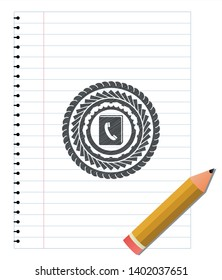 phonebook icon draw (pencil strokes). Vector Illustration. Detailed.