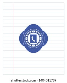 phonebook icon drawn with pen. Blue ink. Vector Illustration. Detailed.