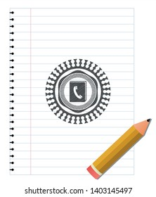 phonebook icon drawn in pencil. Vector Illustration. Detailed.