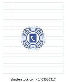 phonebook icon emblem with pen effect. Blue ink. Vector Illustration. Detailed.