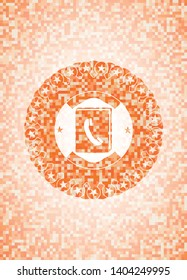 phonebook icon inside abstract orange mosaic emblem with background