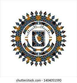 phonebook icon inside arabesque emblem. arabic decoration.