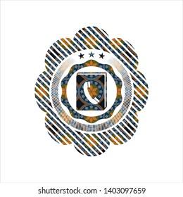 phonebook icon inside arabesque style badge. arabic decoration.