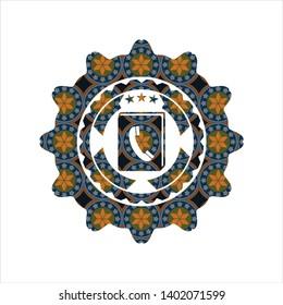phonebook icon inside arabic emblem. Arabesque decoration.