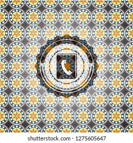 phonebook icon inside arabic style emblem. Arabesque decoration.