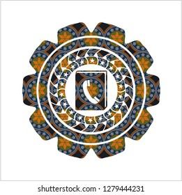phonebook icon inside arabic style badge. Arabesque decoration.