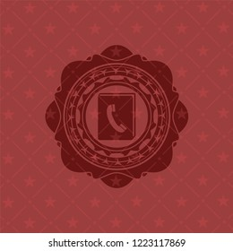 phonebook icon inside badge with red background