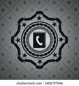 phonebook icon inside black badge