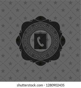 phonebook icon inside black emblem