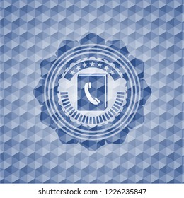 phonebook icon inside blue badge with geometric pattern background.