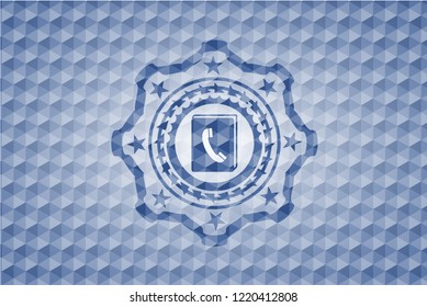 phonebook icon inside blue emblem or badge with abstract geometric polygonal pattern background.