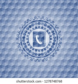 phonebook icon inside blue emblem or badge with geometric pattern background.