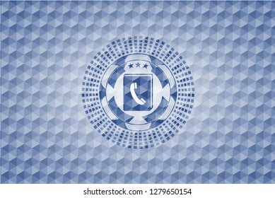 phonebook icon inside blue emblem with geometric pattern.