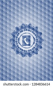 phonebook icon inside blue emblem or badge with abstract geometric pattern background.