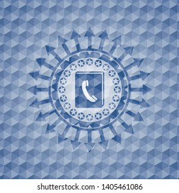 phonebook icon inside blue hexagon badge.