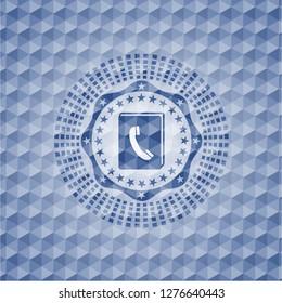 phonebook icon inside blue polygonal emblem.