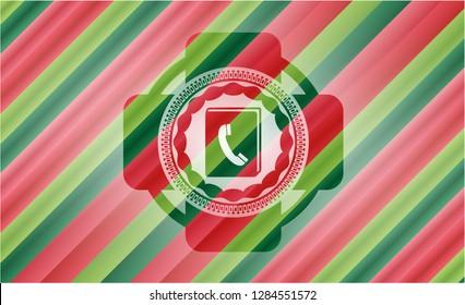 phonebook icon inside christmas colors emblem.
