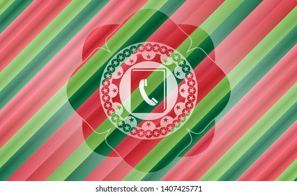 phonebook icon inside christmas colors badge.