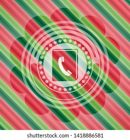 phonebook icon inside christmas colors style emblem.