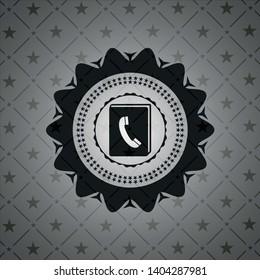 phonebook icon inside dark emblem. Retro