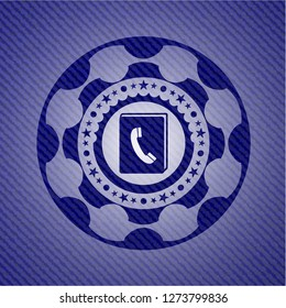 phonebook icon inside emblem with jean high quality background