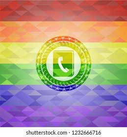 phonebook icon inside emblem on mosaic background with the colors of the LGBT flag