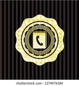 phonebook icon inside gold emblem