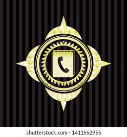 phonebook icon inside golden badge