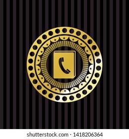 phonebook icon inside golden badge or emblem