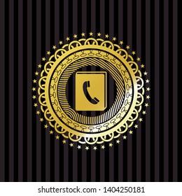 phonebook icon inside golden emblem or badge