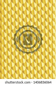 phonebook icon inside golden emblem. Scales pattern. Vector Illustration. Detailed.