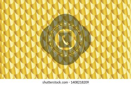 phonebook icon inside golden emblem or badge. Scales pattern. Vector Illustration. Detailed.