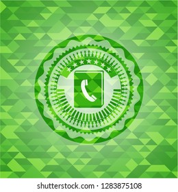 phonebook icon inside green emblem with triangle mosaic background