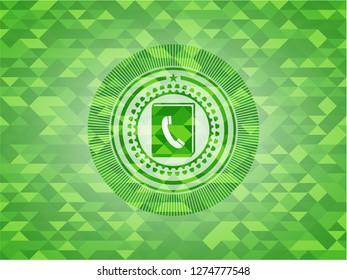 phonebook icon inside green mosaic emblem