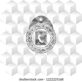 phonebook icon inside grey badge with geometric cube white background