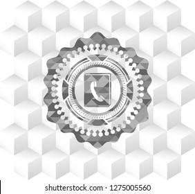 phonebook icon inside grey badge with geometric cube white background