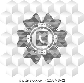 phonebook icon inside grey emblem. Retro with geometric cube white background