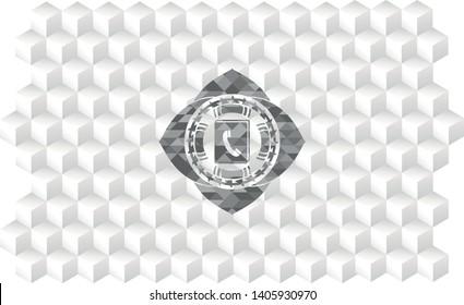 phonebook icon inside grey emblem. Vintage with geometric cube white background