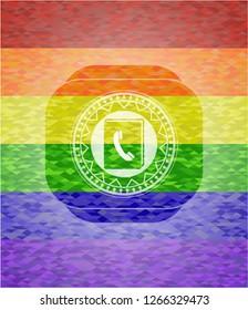 phonebook icon inside lgbt colors emblem