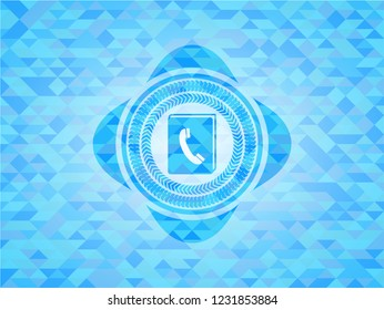 phonebook icon inside light blue emblem with triangle mosaic background