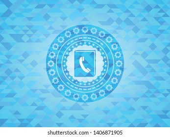 phonebook icon inside light blue emblem. Mosaic background