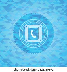 phonebook icon inside light blue mosaic emblem